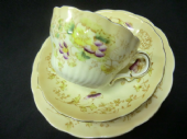 Late Victorian REDFERN & DRAKEFORD blush ground tea trio